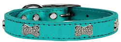 Crystal Bone Genuine Metallic Leather Dog Collar Turquoise 22